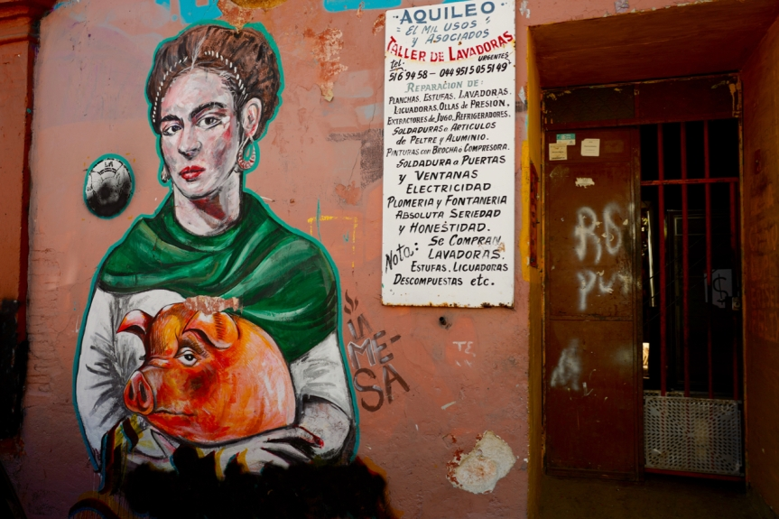 Frida with her pet piggy... Love seeing stuff like this!