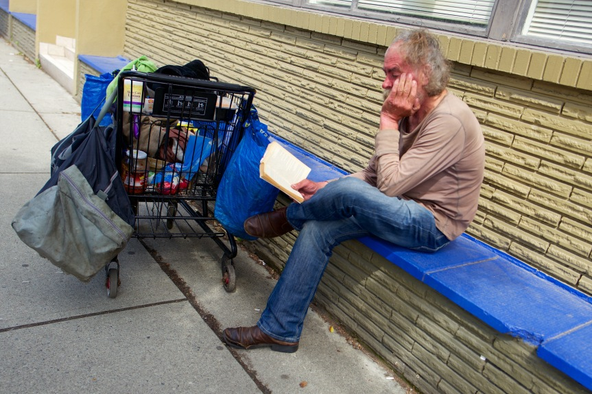 Homeless guy passing the time....