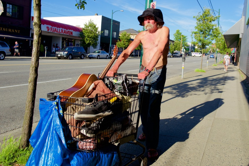 Homeless & on the move with everything he owns....